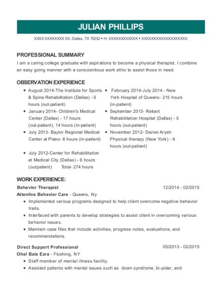 behavior therapist resume
