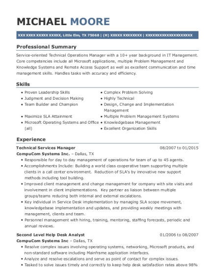Best Technical Services Manager Resumes Resumehelp