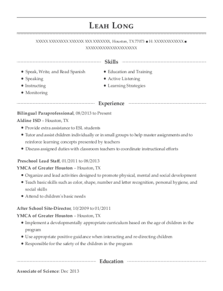 sample resume for paraprofessional position - best bilingual paraprofessional resumes resumehelp