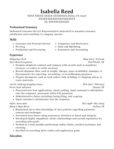 Isabella Reed  Sales Associate On Resume