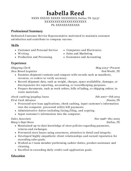isabella reed - Sales Associate Resume