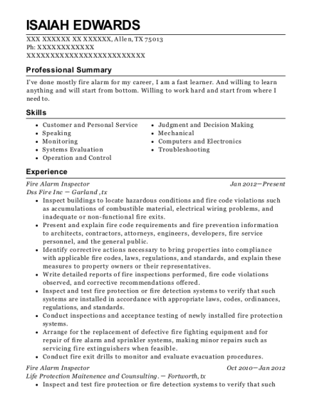 Labor Ready Fire Alarm Inspector Resume Sample - Fayetteville North ...