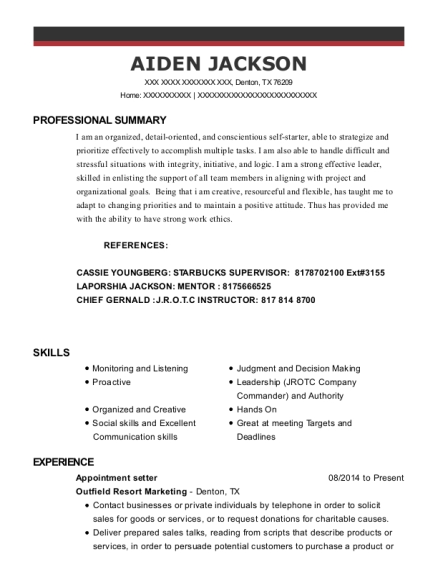 Mpyr Appointment Setter Resume Sample
