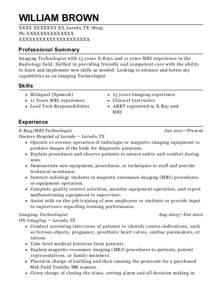 best mri technologist resumes