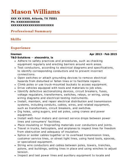 View Resume  Lineman Resume