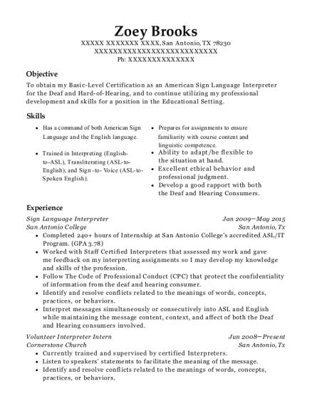 clark county school district sign language interpreter resume sample