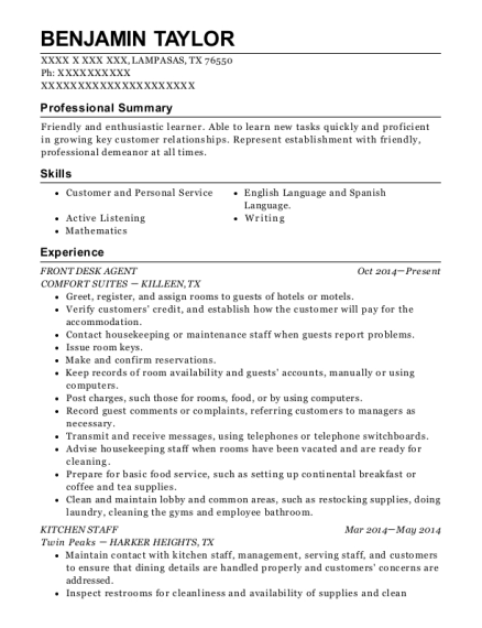 View Resume. FRONT DESK AGENT