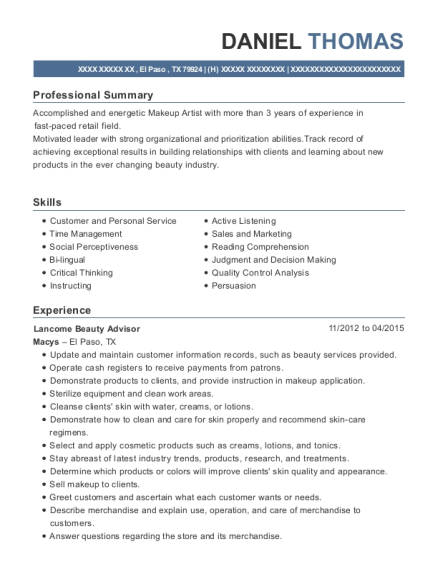 Daniel Thomas  Beauty Advisor Resume