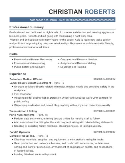 lamar county sheriff department detention resume sample odessa