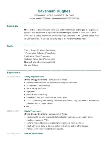 View Resume. Safety Represenative