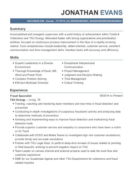 Txu Energy Fraud Specialist Resume Sample - Desoto Texas   ResumeHelp