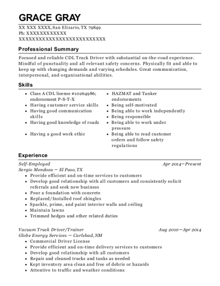 Key Energy Vacuum Truck Driver Resume Sample - Porterville ...