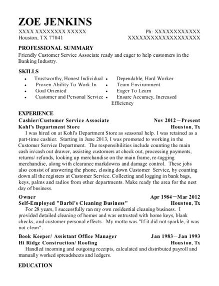 zoe jenkins customer service associate resume - Lowe Customer Service Associate Sample Resume