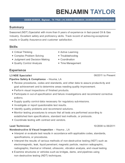timco aviation services ndt technician resume sample