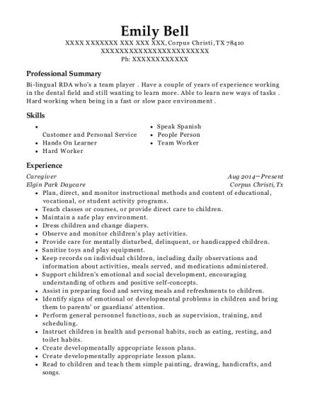 Rda resume examples