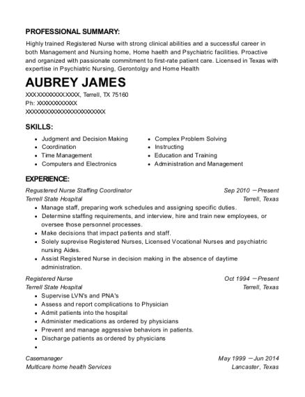 Aubrey James  Nurse Assistant Resume