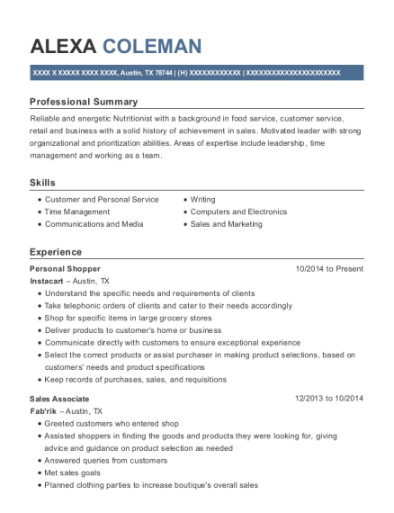 Instacart Personal Shopper Resume Sample Union City