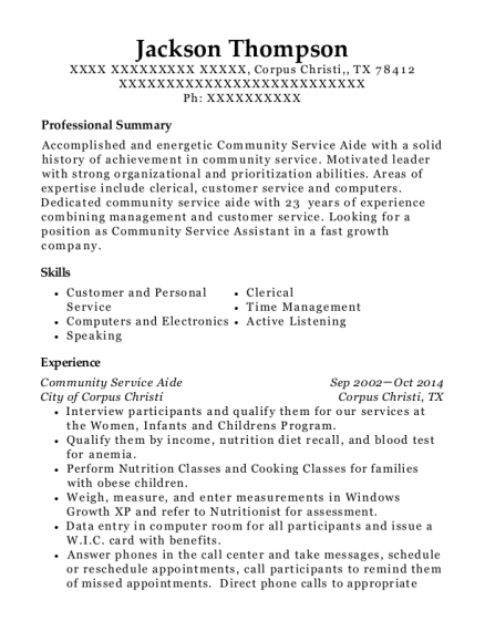 View Resume  Community Service Resume