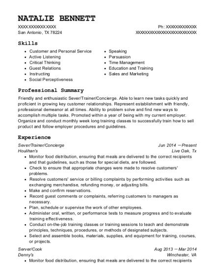 Houlihan\'s Sever/trainer/concierge Resume Sample - San Antonio Texas ...