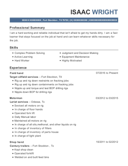 target oilfield services field hand resume sample fort stockton