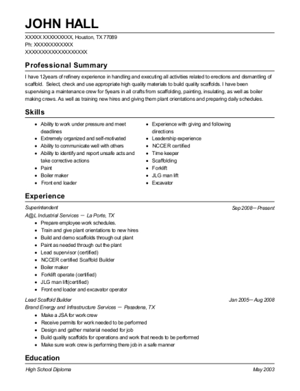 Brand Energy Solutions Lead Scaffold Builder Resume Sample - Jenners ...