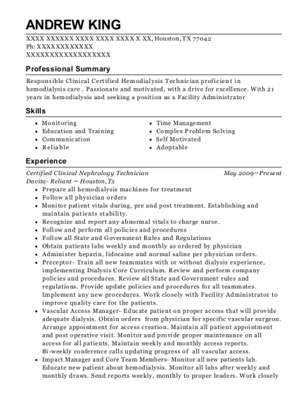 Certified Clinical Hemodialysis Technician , Certified Nursing Assistant.  Customize Resume · View Resume