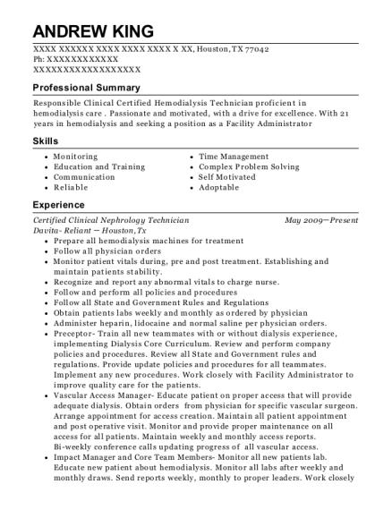 Davita Dialysis Certified Clinical Hemodialysis Technician Resume ...