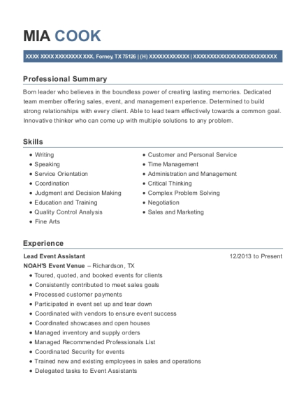 View Resume. Lead Event Assistant