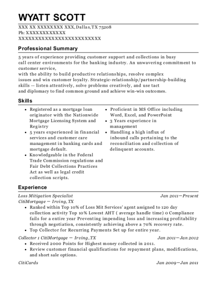 View Resume. Loss Mitigation Specialist