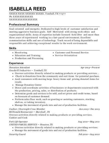 goodwill industry donation attendant resume sample brookfield