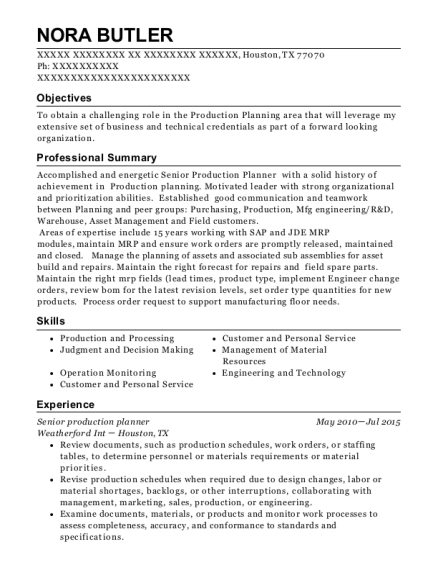 cymer an asml company senior production planner resume sample