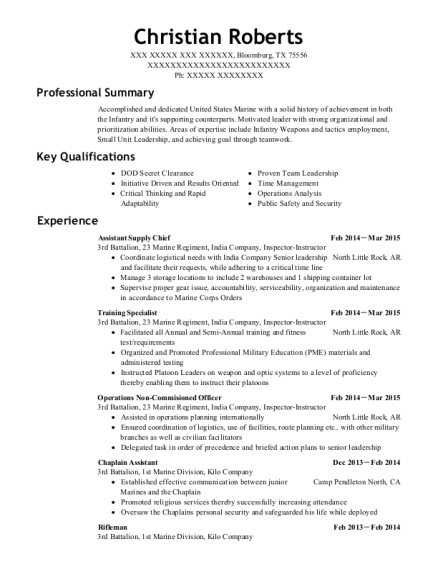 View Resume. Assistant Supply Chief