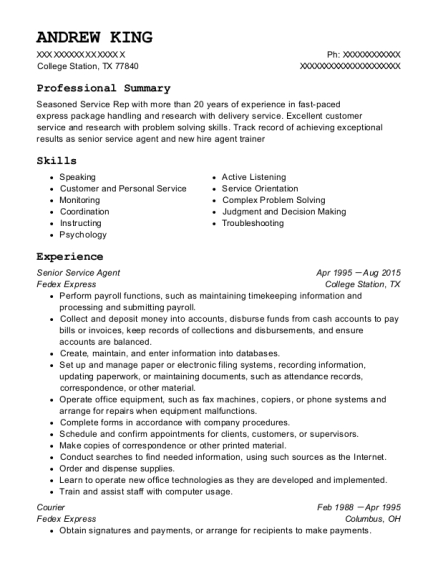 fedex express senior service agent resume sample lafayette indiana