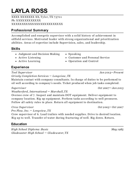 Quality Energy Services Tool Supervisor Resume Sample - Victoria ...