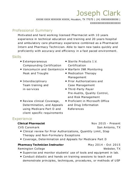 Best Pharmacist Intern Resumes ResumeHelp