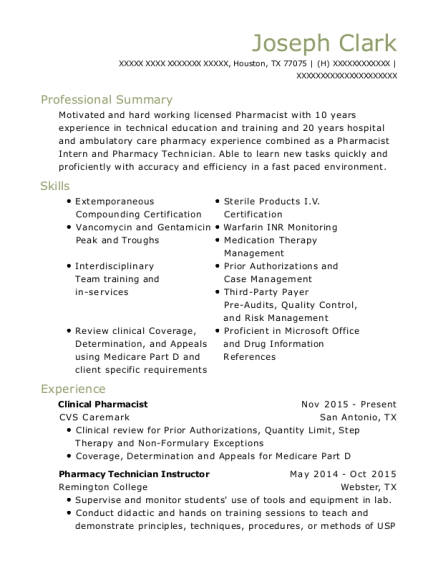 pharmacist intern resumes