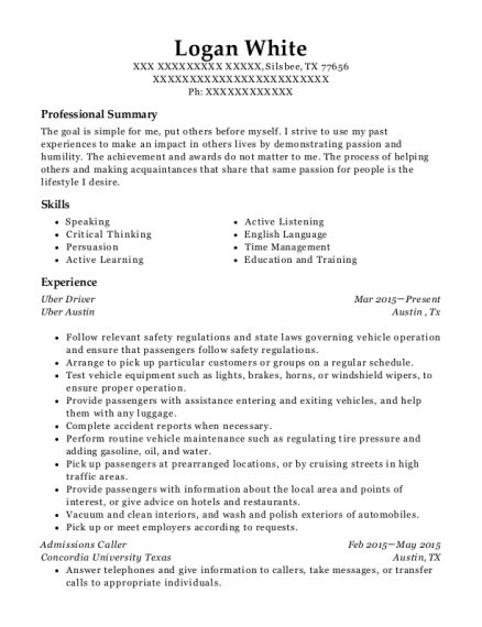 uber uber driver resume sample