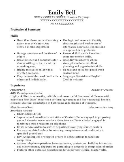 american airlines fleet service clerk resume sample