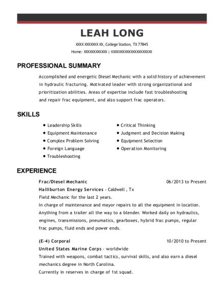 Halliburton Frac Resume Sample - Mission Texas | ResumeHelp