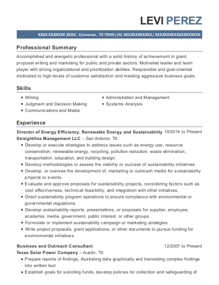 Straightline Management Llc Director Of Energy Efficiency Resume ...