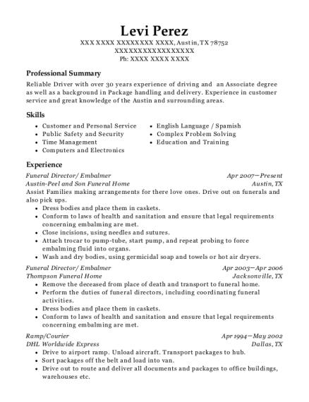embalmer resume