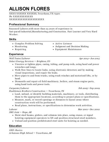 Best Well Tester Resumes | ResumeHelp