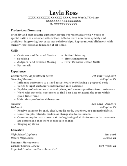 layla ross - Appointment Setter Resume