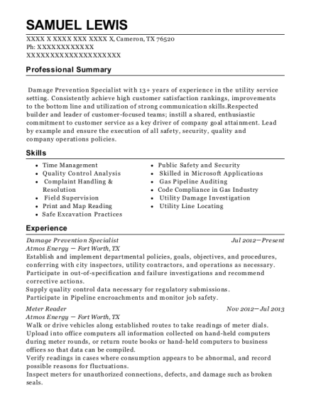 Atmos Energy Damage Prevention Specialist Resume Sample - Cameron ...