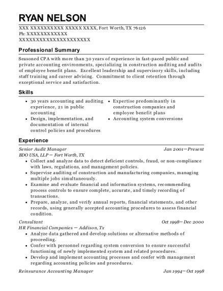 Best Reinsurance Accounting Manager Resumes | ResumeHelp