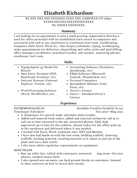 View Resume Timekeeper Scheduler
