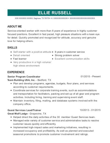 Team Building Usa Senior Program Coordinator Resume Sample - Saginaw ...