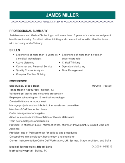texas health resources supervisor blood bank resume sample