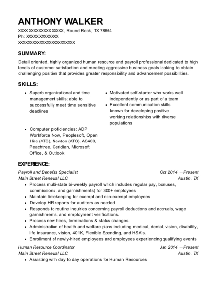 Best Payroll And Benefits Specialist Resumes Resumehelp