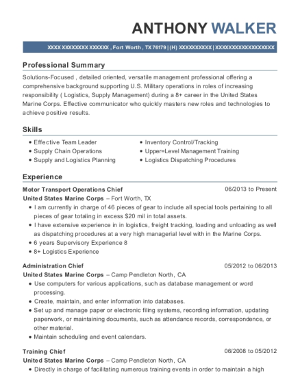 united states marine corps motor transport operations chief resume sample